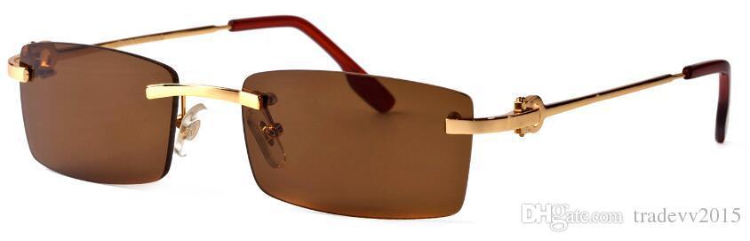 Sem aro meia moldura de ouro prata pernas de metal moda búfalo óculos para homens mulheres óculos de sol com caixa original lentes claras