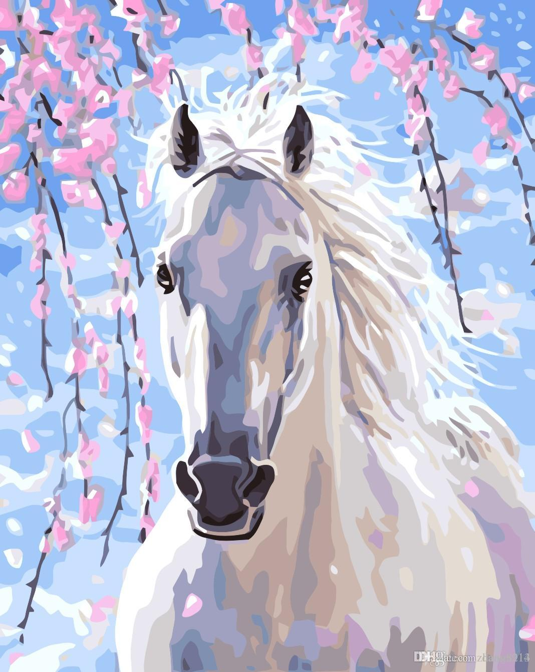 16x20 inches DIY Paint on Canvas by Number Kits Abstract Art Acrylic Oil Painting for Adults Children Spring Racecourse White Horse