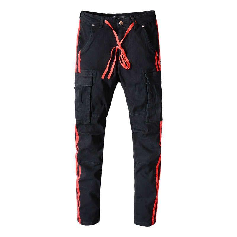 American Streetwear Men Robin Jeans Black Big Pocket Denim Cargo Pants Drawstring Red Stripe Printed Jeans Slim Fit Hip Hop Jeans For Men