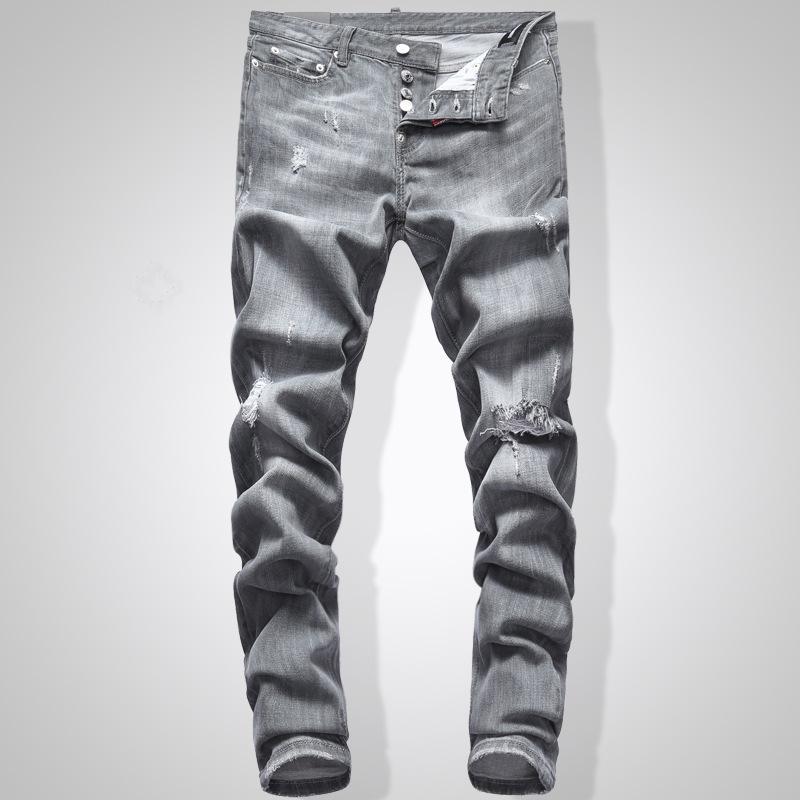 Gris Jeans Slim Fit Denim color sólido de Hip Hop Streetwear motorista Jeans 744 #