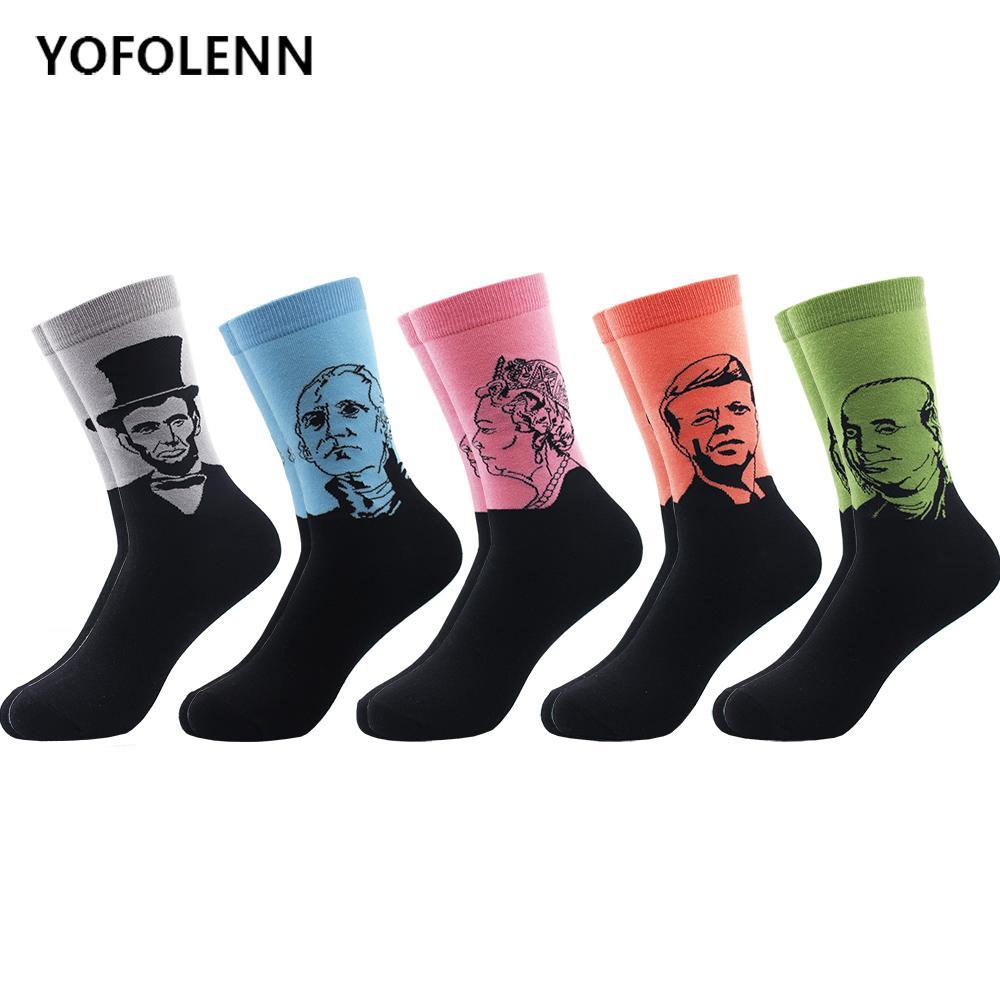 5 çift / grup erkek penye pamuklu çorap popüler retro sanat yağlıboya tarzı komik erkek uzun çorap renkli rahat çorap