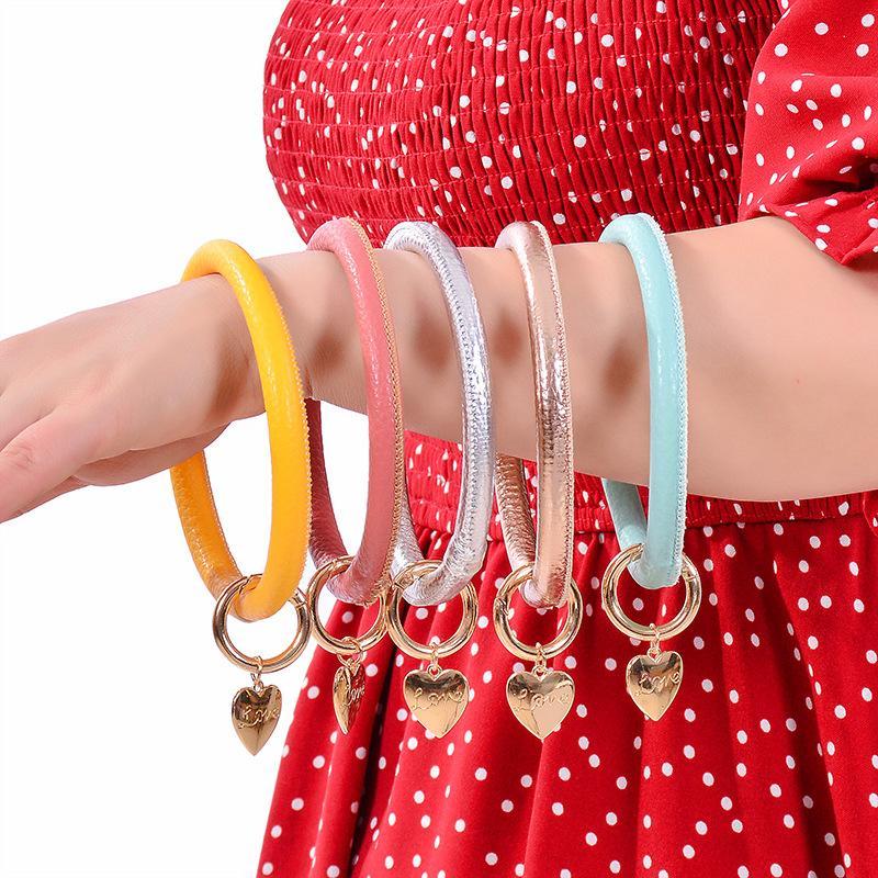 Кожаный браслет брелок Персонализированные кожаные браслеты Брелки Брелок Круг Браслет Браслет сердце любовь кулон брелок