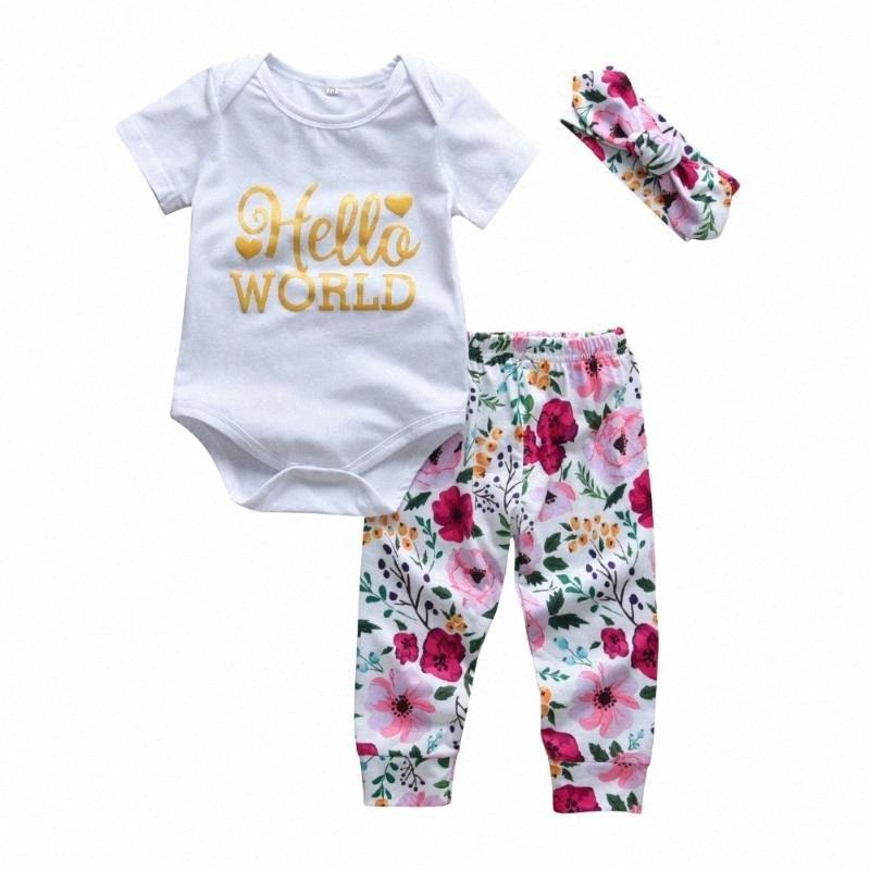 3 piezas de manga infantil niño del bebé de la ropa del Fashion Hello World Corto Romper + pantalones de flores Casual + Cinta de cabeza del recién nacido ropa Uvi2 #