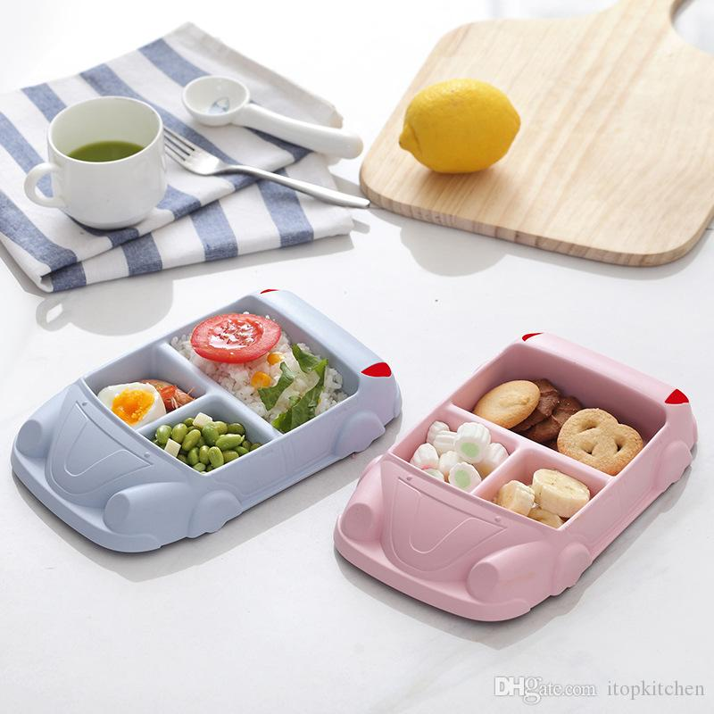 ITOP Bamoboo Fiber Bowl Baby Dishes Cartoon Car Shape Bowl Lunch Box Health and Safety Kid Children Feeding Plate Tableware