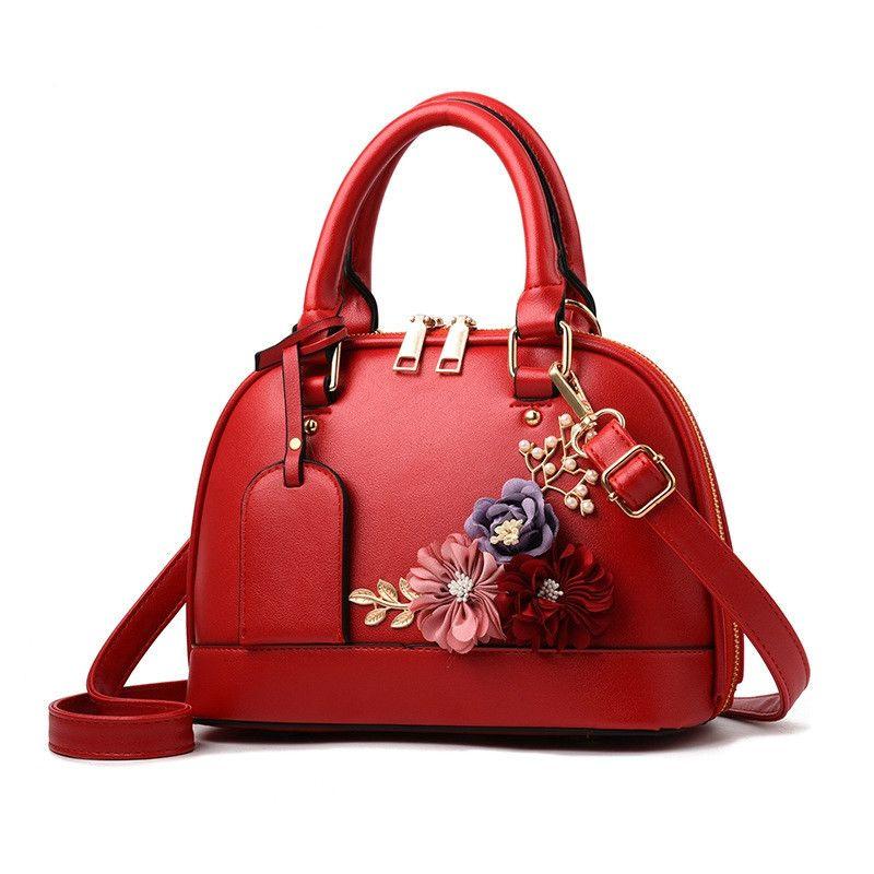 SWDF Yeni Kadın derinin çanta Kadın kurye çantası Bayanlar Askılı çanta Shell Çiçek Crossbody çantası