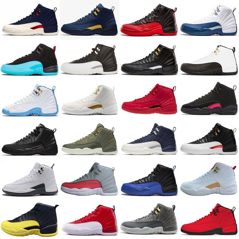 Alta calidad 2019 Nuevo 12s CNY Año Nuevo Chino Oro blanco Hombres Zapatos al aire libre 12 FIBA French Blue Game Royal Sneakers
