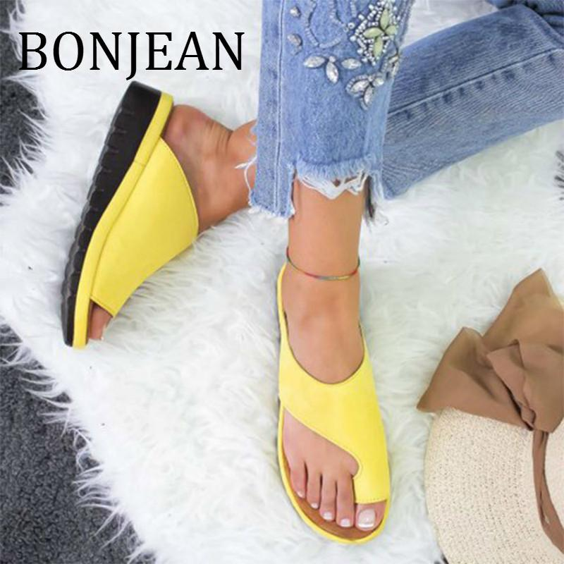 BONJEAN 2019 Summer Beach Shoes for Women Casual Yellow Flip Flops PU Leather Wedges Shoes Ladies Leather Slippers BJ1321