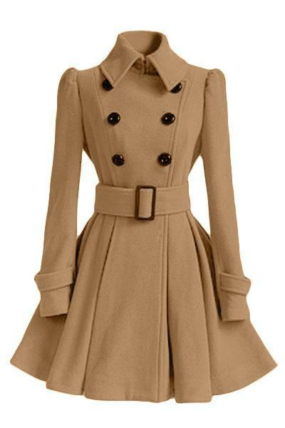 ladies elegant a-line long Cashmere blend winter womens coats for women turn collar double breasted solid female wool blend coat