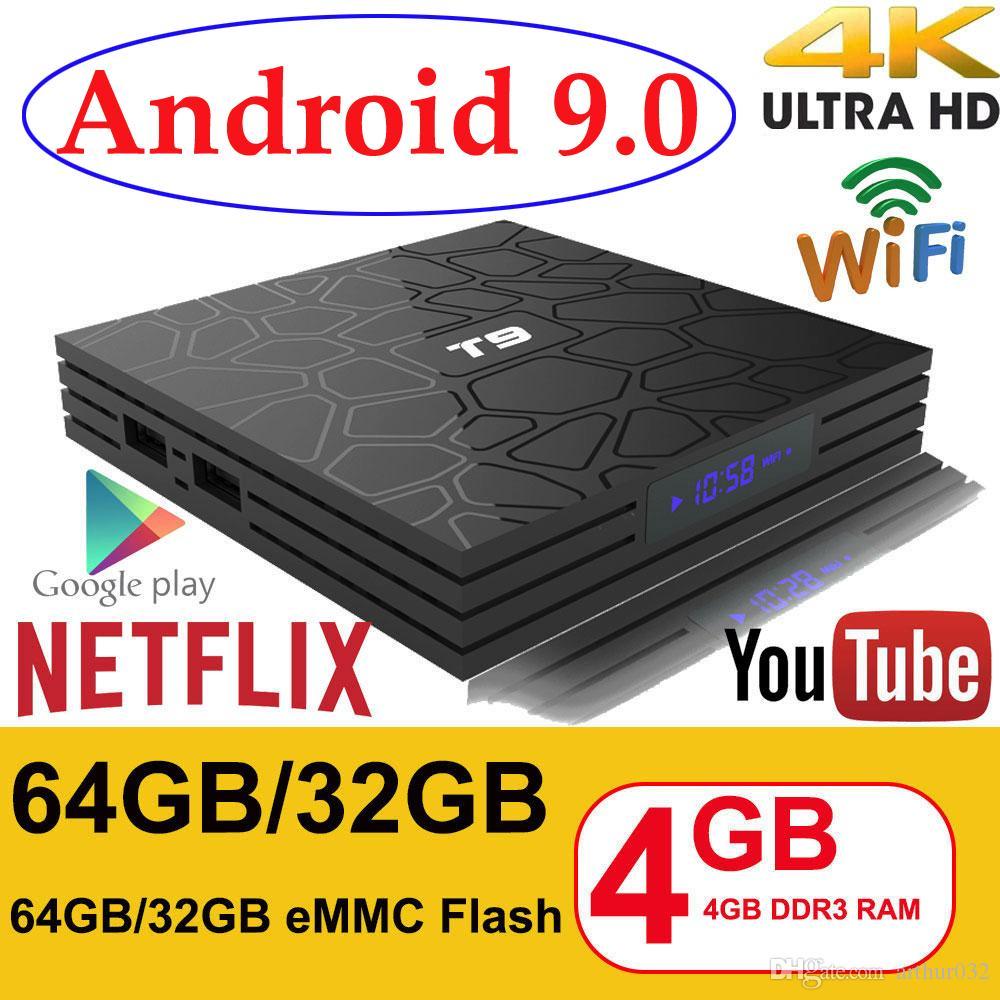 Android 9.0 TV Box T9 4GB RAM 32GB/64GB Rockchip RK3318 1080P H.265 4K Google Player Store Netflix Youtube TV BOX