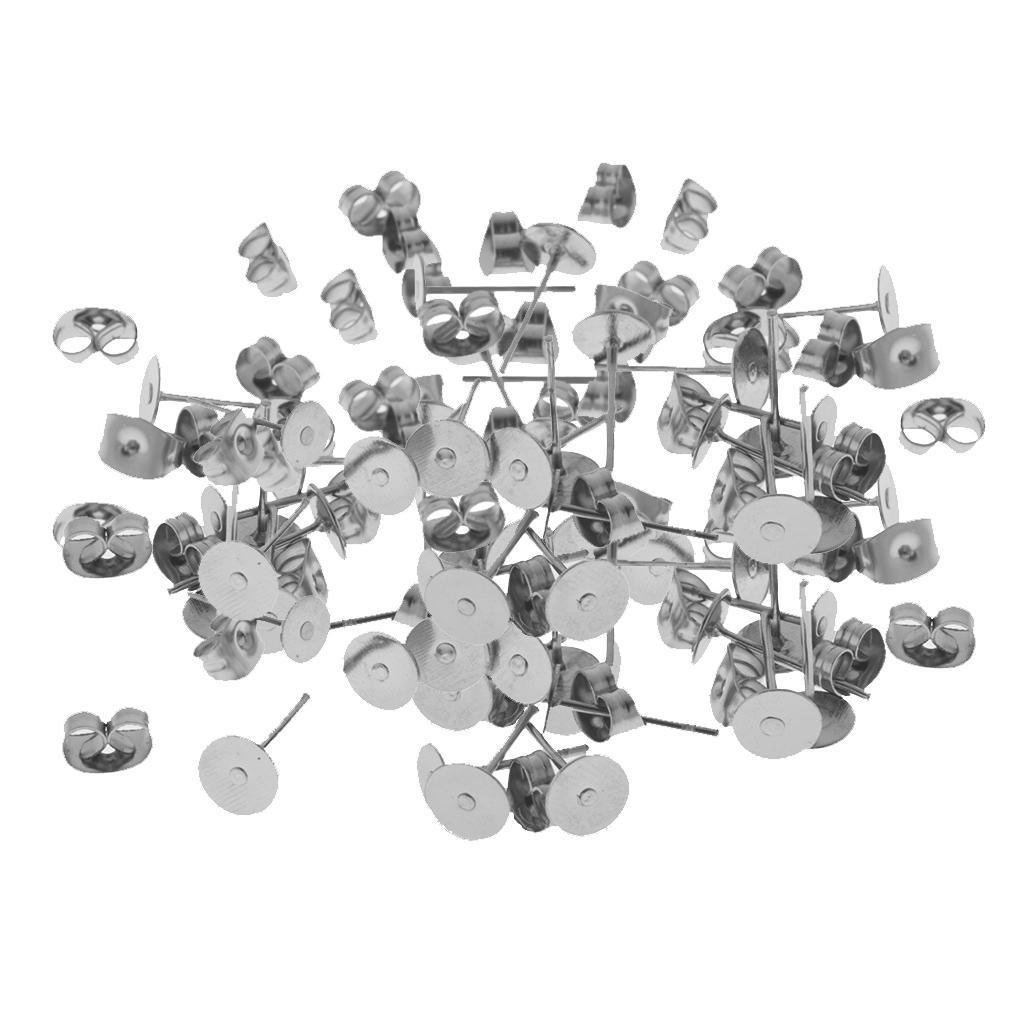 60 комплектов ГИПОАЛЛЕРГЕННЫЙ из нержавеющей стали пустой плоские серьги контактный сообщение шпильки обратно выводы DIY ювелирных изделий дизайн выводы