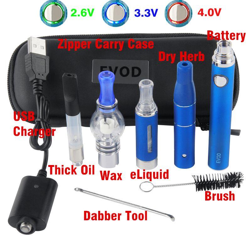 eVod 4 in 1 Vaporizer Preheat VV Vape Kit Evod 510 Vape Cartridge Dry Herb Dab Pens Glass Globe Oil Vapes Starter Kits