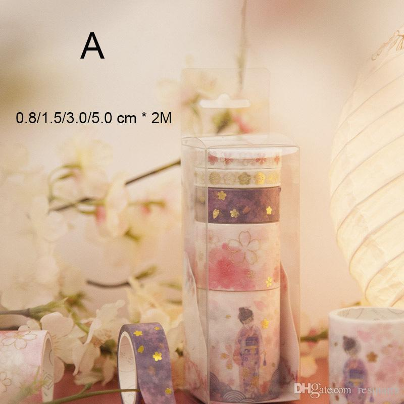 2016 Fleurs De Cerisier Or Estampage Série I Bandes De Papier Mini Portable Rose Rubans Adhésifs Décoratifs Embellissement Album Journal