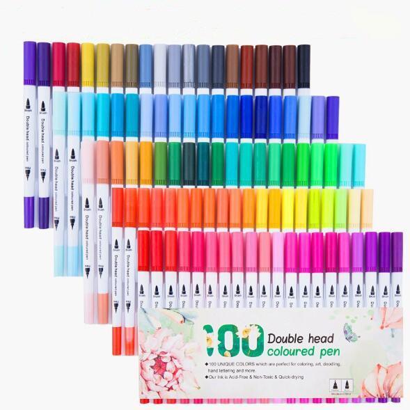 24/36 / 48/60/80 / 100pcs grafiti Çizim Boyama Çift Başlı çift uç Fırça Marker Kalem Seti Sulu renkli kalemler Kırtasiye T200416