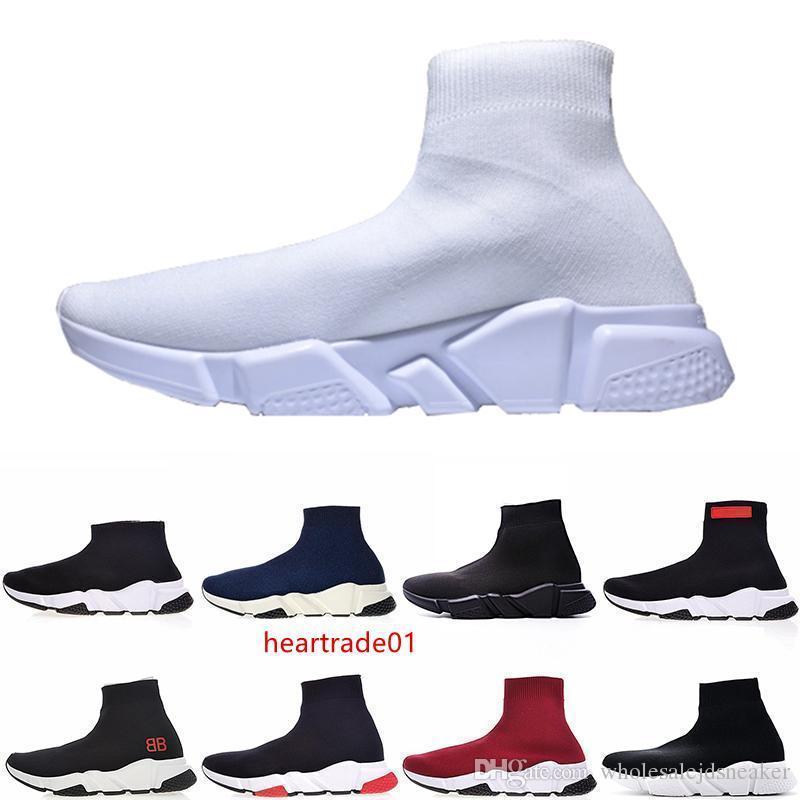 Calcetín zapatos de velocidad para las mujeres para hombre del diseñador de moda de lujo de París botas rojas Triple Negro plana nuevo bien calzados informales para mujer de la zapatilla de deporte al aire libre