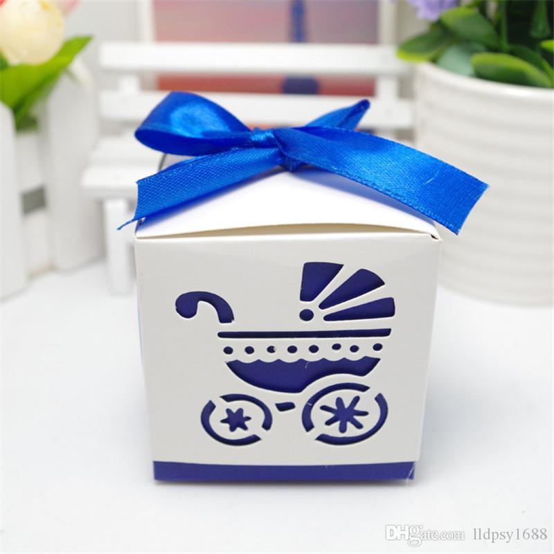 100 adet Lazer Kesim Bebek arabası Bebek Duş Şeker Favor Kutusu ile Kız Doğum Günü Partisi Şeker Kutusu kurdele Tatlı Düğün Dekorasyon Şeker Kutusu