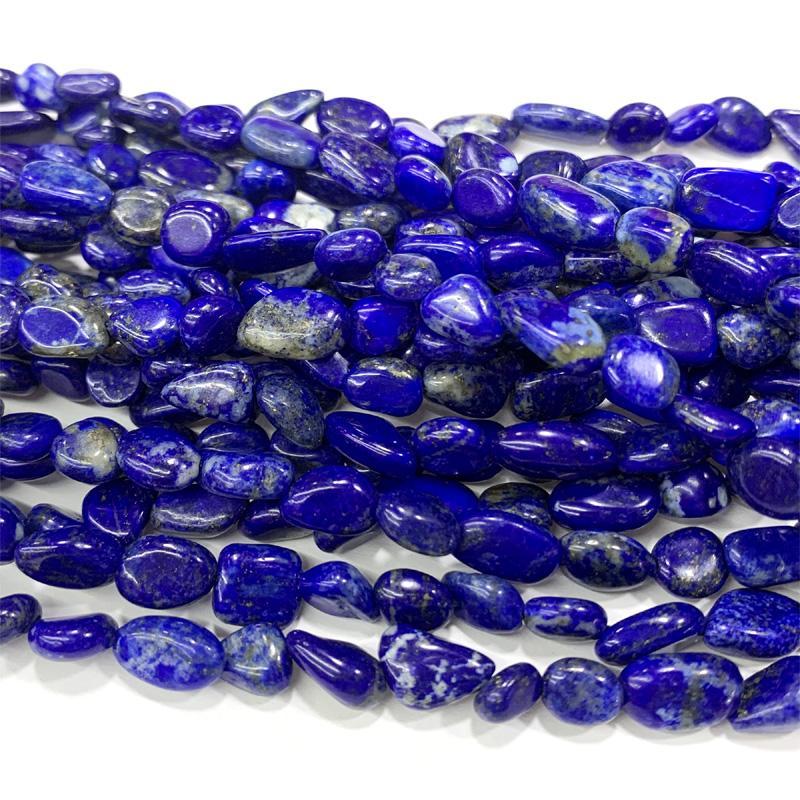 "Naturales de alta calidad genuina Dar azul lapislázuli pepita de forma libre Filete irregular Pebble pulsera de cuentas de collar de 15.5"" 06395"
