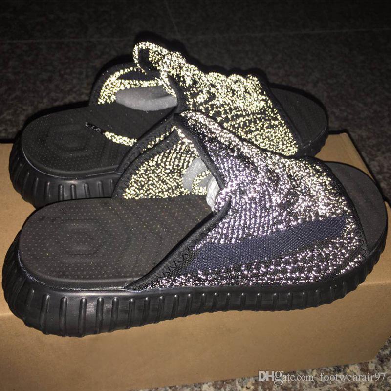 2019 Бренд Kanye West V2 Светоотражающие Тапочки Для Мужчин Женщин Synth Черный Статический Светоотражающий Свечение Lundmark Clay Antlia Гиперпространство Дизайнерская Обувь