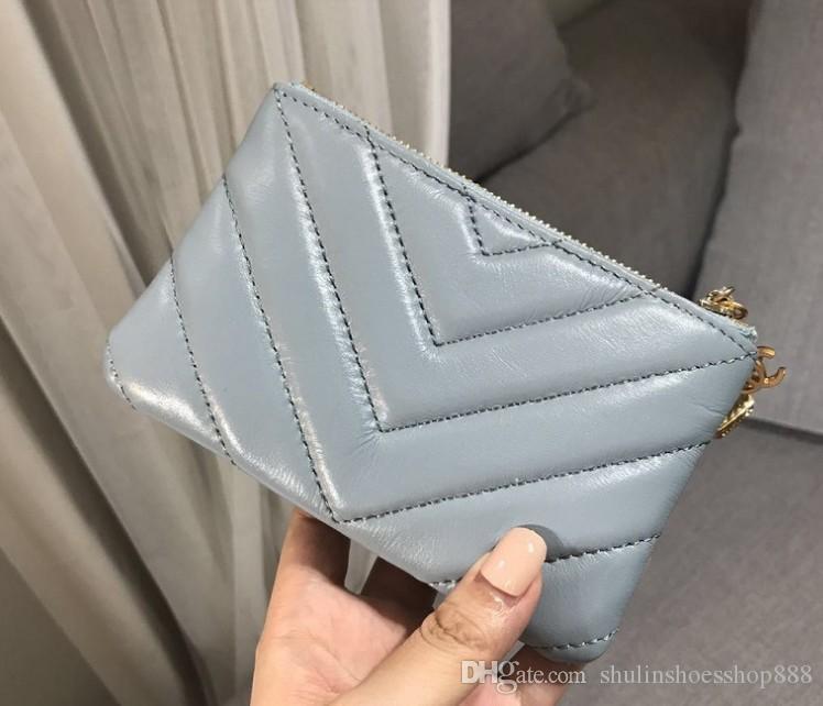 New smog blue V pattern purse short wallet rhombic sheepskin wallet owl hanging zipper card bag purse mini clutch bags wallets