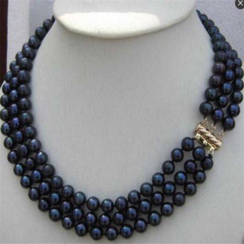 triple Stränge 8-9mm natürliche Südsee schwarze Perlenketten 18-22inch