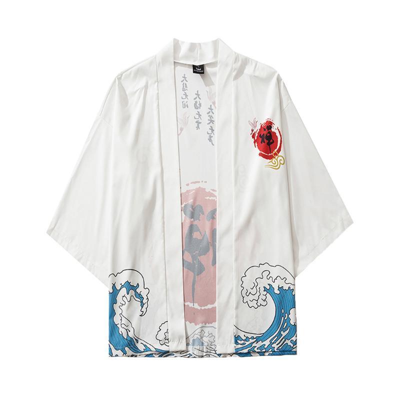 Sommer-Fünf-Punkte-Ärmel Kimono Herren und Damen der japanischen Mantel Spitzenbluse Strand Maxi-Street Camisas de hombre # D5