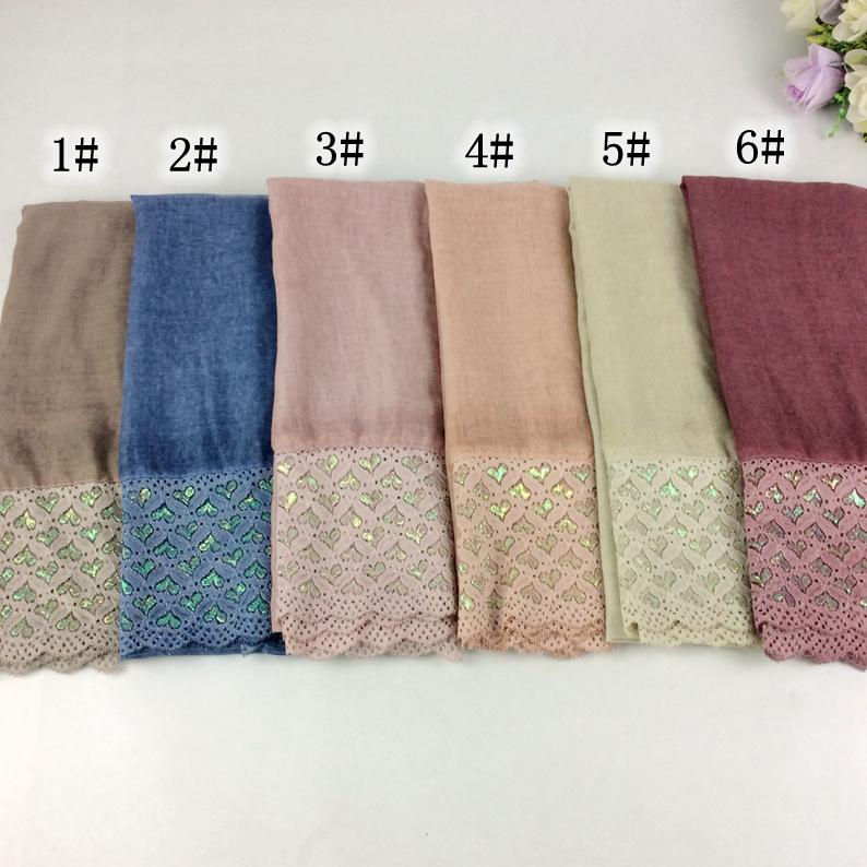 20pcs The Newest Lace Style Glitter Polyester Cotton Plain Tie Dye Women Ladies Shawls And Scarves Muslim Hijab Wraps Caps