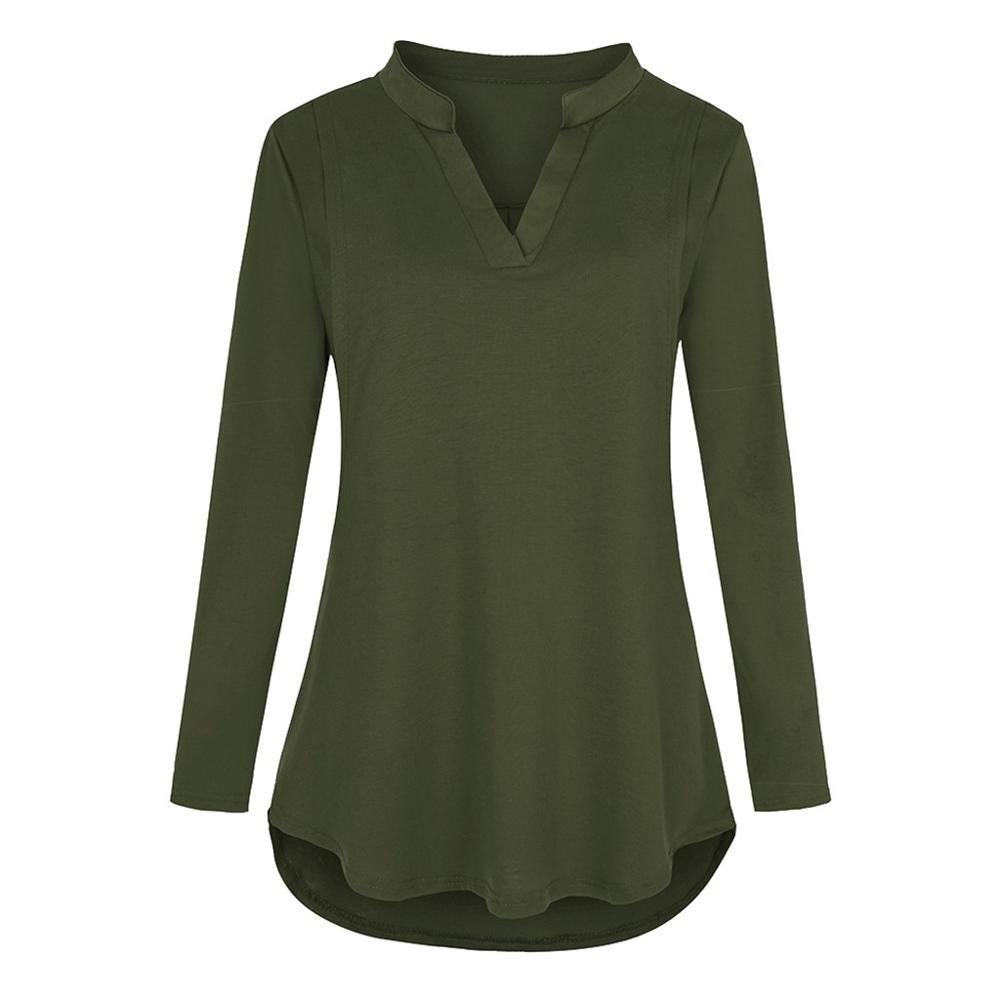 L'allattamento al seno incinta T-shirt di maternità con scollo a V a maniche lunghe di colore solido Nursing T-shirt Moda Large Size Top gravidanza # 20