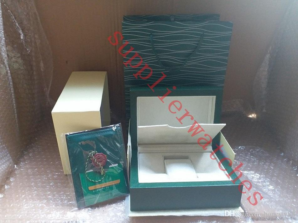 سوبر الجودة الأعلى الساعات الفاخرة العلامة التجارية الخضراء المربع الأصلي أوراق رجالي هدية الساعات صناديق حقيبة جلدية بطاقة 0.8 كيلوجرام ل رولكس ووتش مربع مع حقيبة
