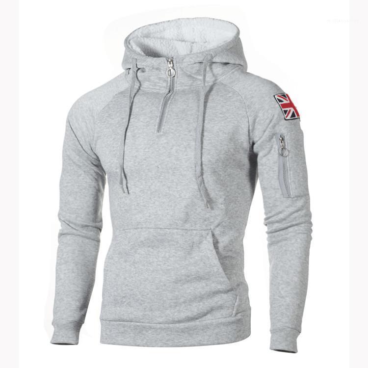 Long Sleeve Sleeve Rice Sticker Pocket Sweatshirt New Hoodies Mens Sweater Decorative Zipper Neckline Hooded