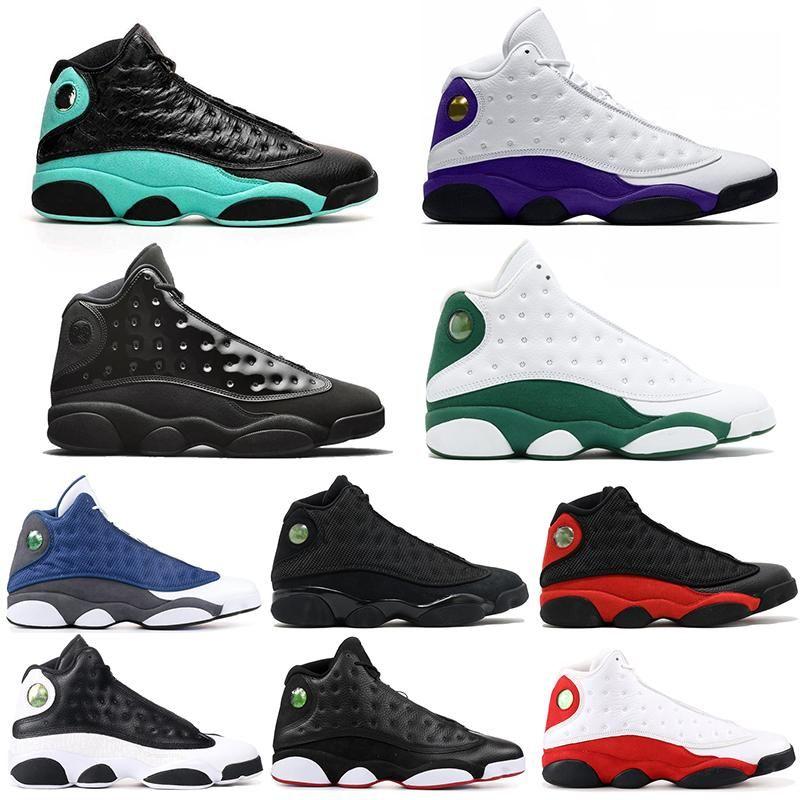 13s Jumpman Hommes Chaussures de basket en nylon noir Hommes 13 Sneaker Gris foncé FIBA grippe jeu bleu français Sport Chaussures Baskets avec la boîte