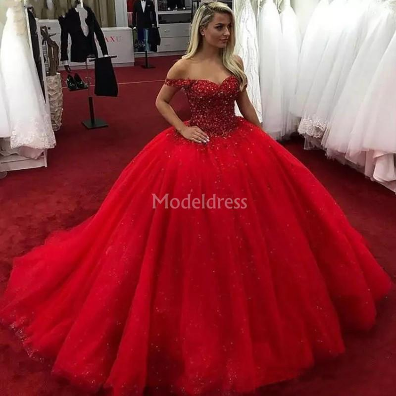 Luxury Red Princess Ball Gown Quinceanera Dresses Off Shoulder Beads Sweep Train Crystals Formal Party Prom Gowns For Sweet 16 Hot Vestido