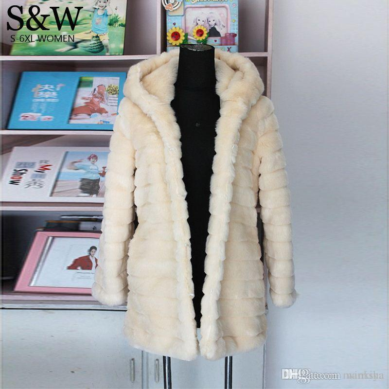 2016 Winter Women's Rabbit Fur Coat With a hood Medium-long Warm Thick Plus Size XXXL 4XL 5XL Striped Faux Fur Coats Overcoat
