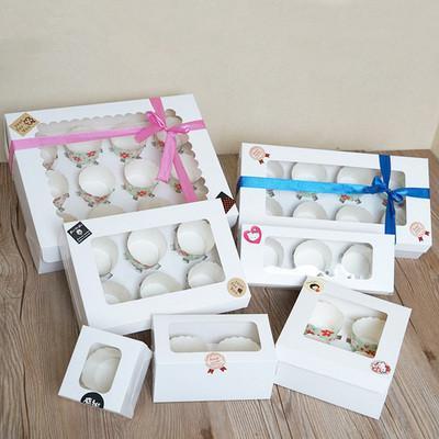 20pcs Bianco Kraft scatola di carta con finestra 1/2/3/4/6/8 Hole Cupcake dialogo Inserisci piccolo / grande torta di imballaggio di cartone Muffin