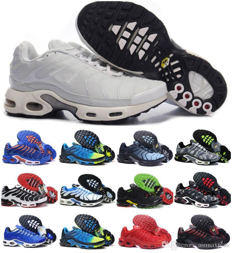 2019 nuevos diseños de zapatos clásicos originales Tn zapatillas de deporte para hombre de la moda de malla transpirable Aire Tn Requin Chaussures Plus Deportes Formadores Zapatillaes