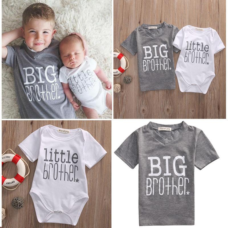 Family Matching Big Little Brother Tops Baby Romper Babygrow Outfit Summer UK