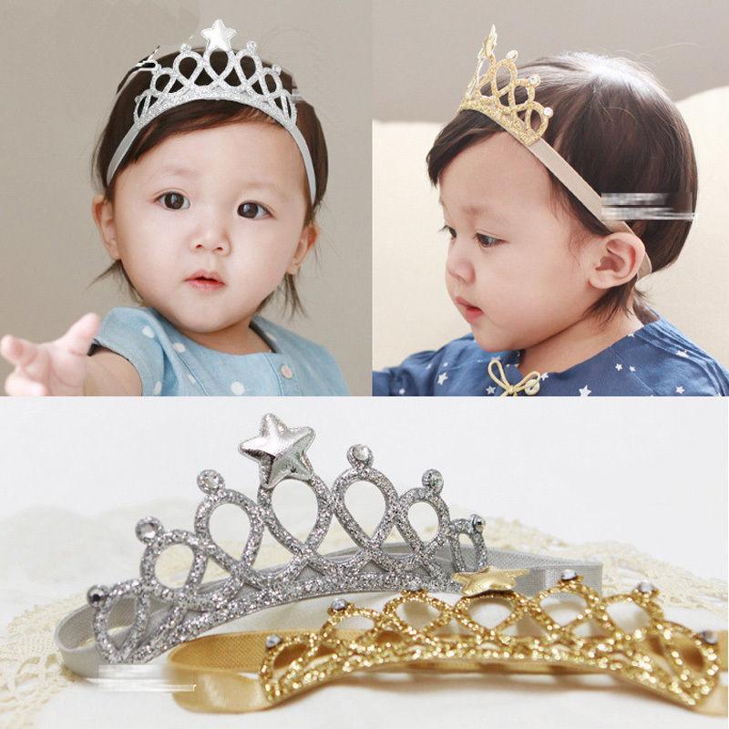 Estrella de Plata niño de los niños para niños de los bebés Corona diadema arco de Headwear de la tiara del oro princesa accesorios elásticos del pelo del Rhinestone