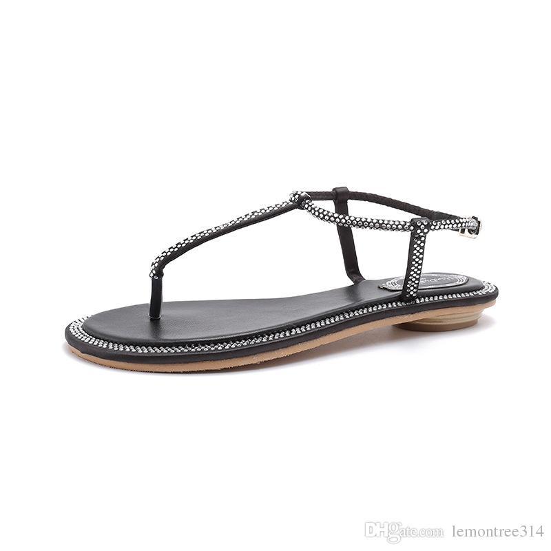 Strap Thong Flat Sandals Summer Beach Crystal Flip Flops Shoes Women T