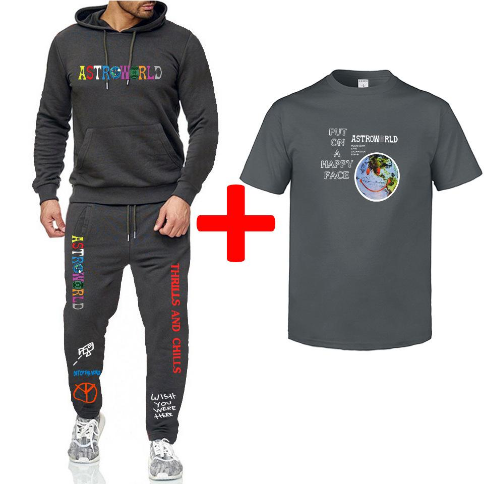 Katı Renk Erkek eşofman Moda Stil Mürettebat Boyun Erkek Kazak Kapüşonlular Pantolon tişörtleri 3adet Suits