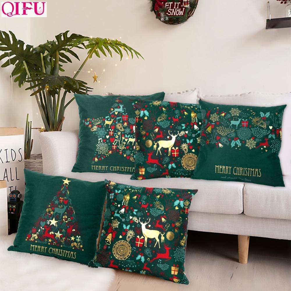 Рождественский зеленый хлопок горячая тиснение наволочки рождественские украшения для дома 2019 вечеринка декор Kerst Новый год 2020