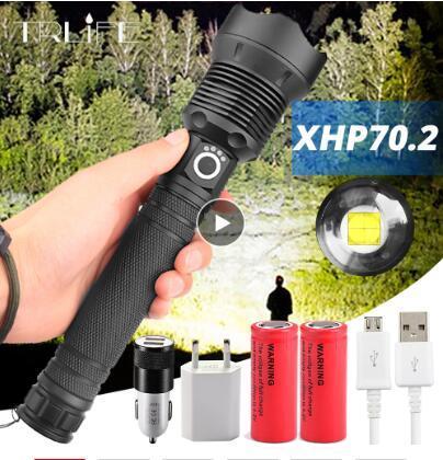 가장 강력한 LED 손전등 XLamp XHP70.2 USB Zoomable 3 모드 토치 XHP70 XHP50 18650 26650 충전식 배터리 손전등