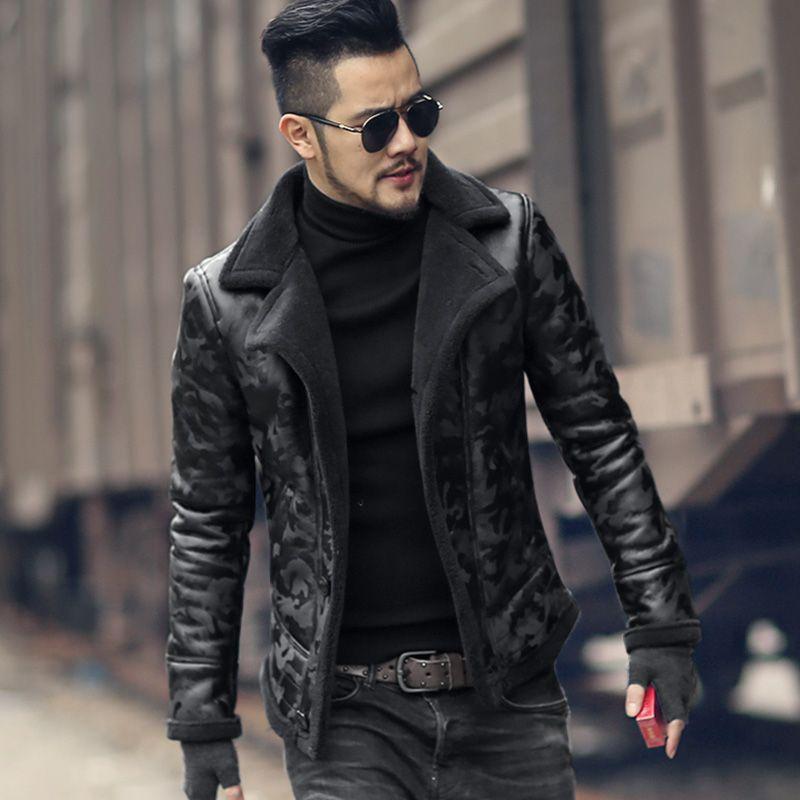 Nova moda Brasão Black Lamb lã Homens Fur inverno quente Camuflagem gola de pele do falso jaqueta de couro slim Natural Grosso