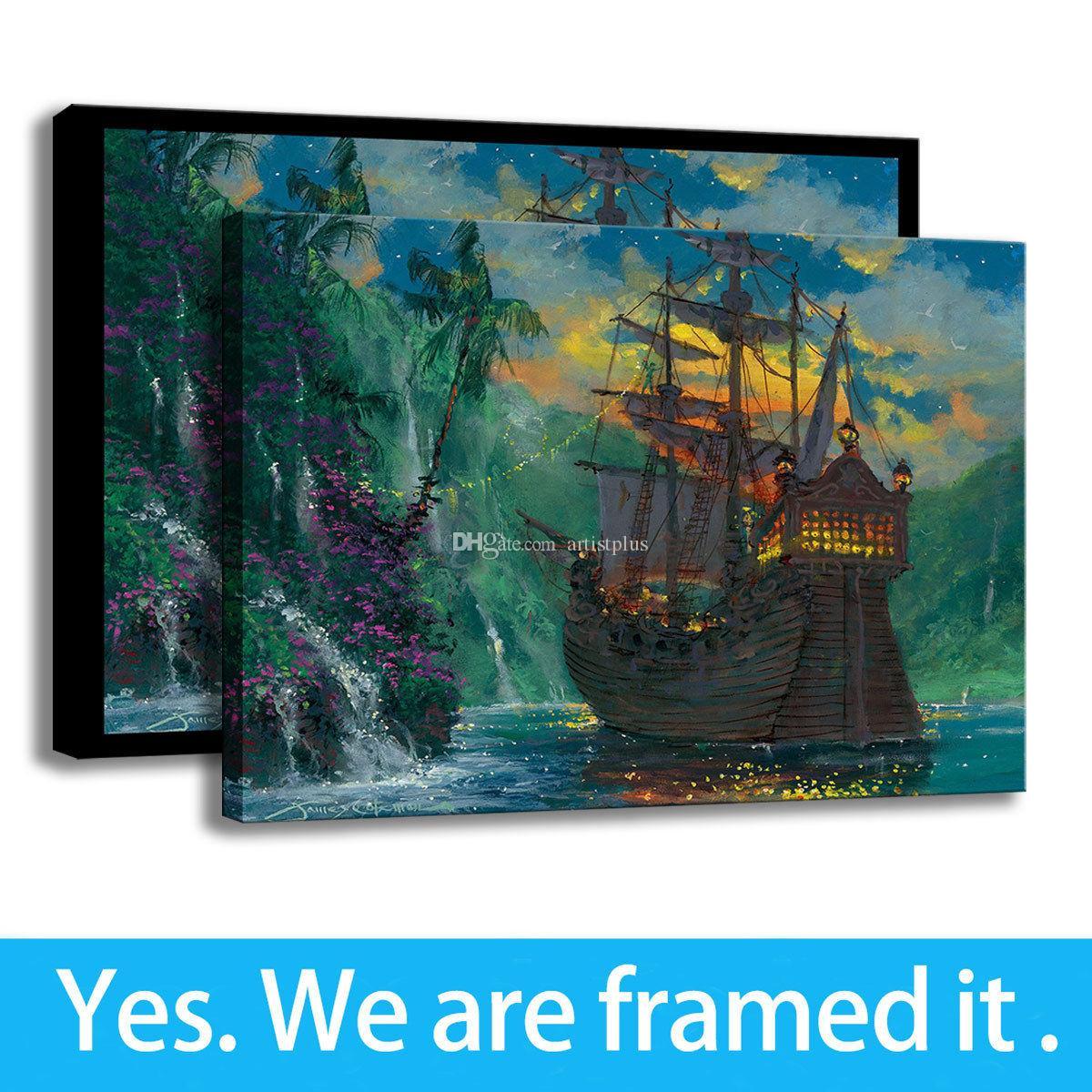 James Coleman Tela stampa di arte della pittura della decorazione dell'ufficio Peter Pan Neverland Bay - pronta per essere appesa - Framed