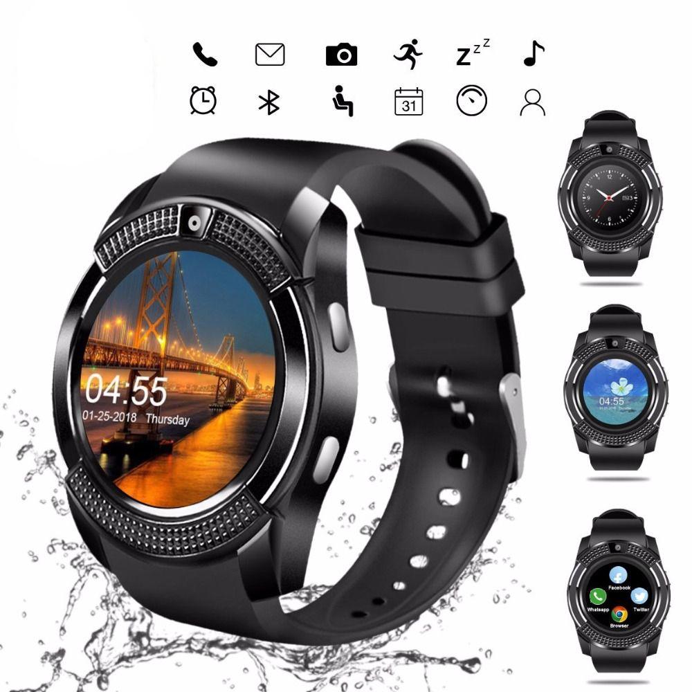 ساعة ذكية V8 ساعة يد رجلة بلوتوث تعمل باللمس للنساء مع فتحة بطاقة / بطاقة SIM ، ساعة ذكية مضادة للماء