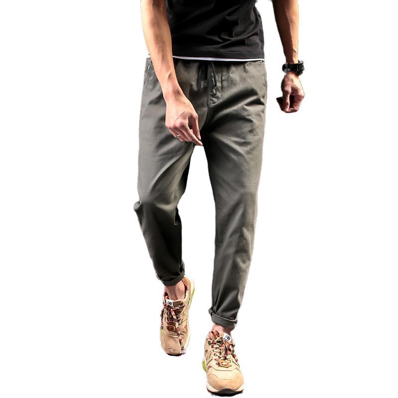 Мужские брюки 2021 Досуг льна Летнее Тонкий Корейский Издание Прямые Цилиндр Моды Брюки Мужской Бренд Одежда