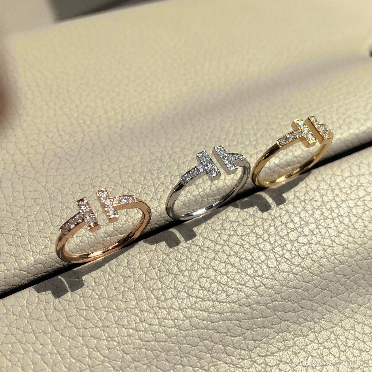 Yüksek sürüm 925 gümüş T elmas lüks tasarımcı halkaları anillos çift kadın düğün nişan Aşıklar hediye evlenmek bague