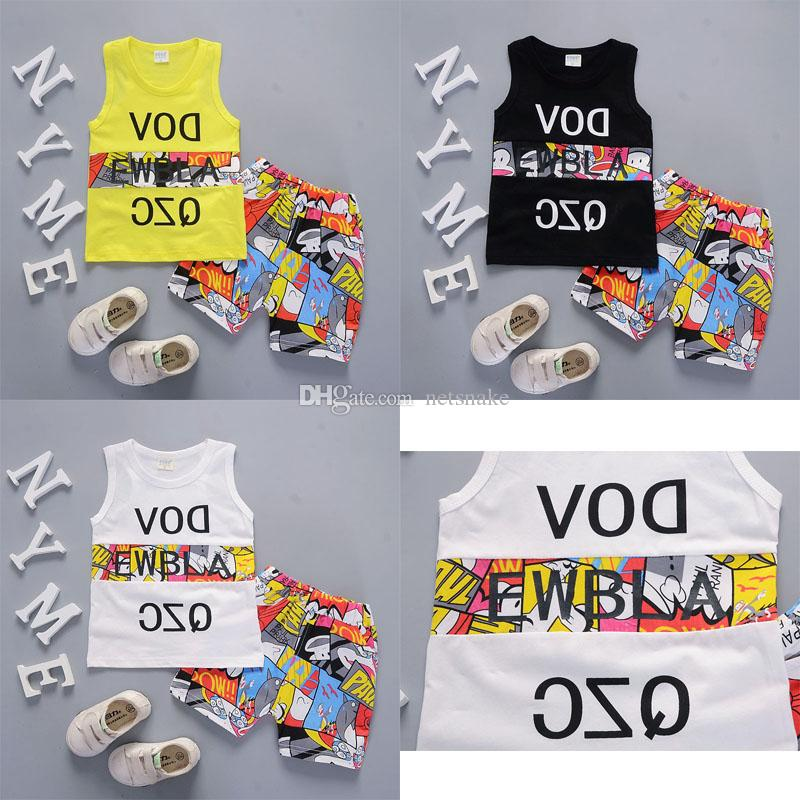 2019 Cool and refreshing style summer cotton round collar Comic stitching pattern with vest and shorts two pieces for boys and girls