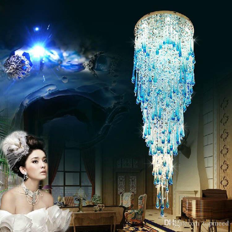 Новая хрустальная люстра Круглая лестница висит линия кристалл лампа вилла гостиная потолочная лампа гостиничный проект лобби зал подвесной кулон