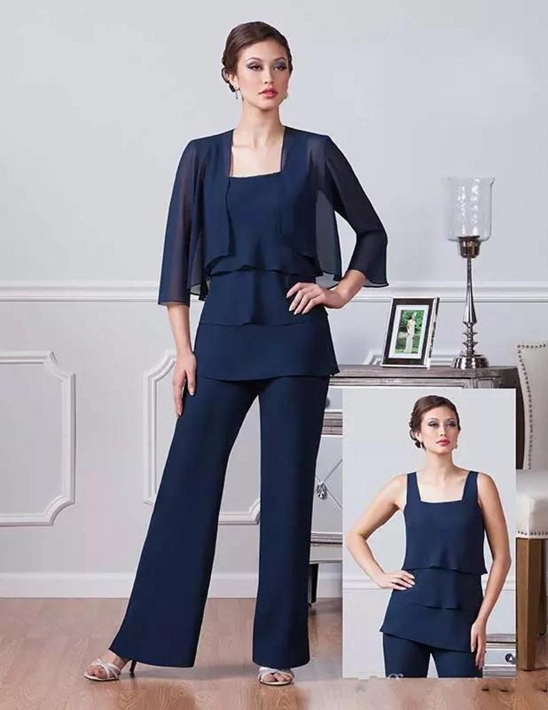 Navy Blue Chiffon Mother Of The Bride Pants Suits Square Neckline Dresses Party Evening For Wedding Mothers Guest Dress