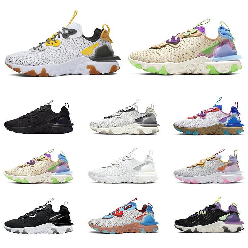 react element vision 87 55 Koşu Ayakkabı Erkek Kadın Üçlü Siyah Beyaz Yanardöner Petek Erkek Eğitmenler Spor Spor ayakkabılar Boyutu 36-45 Tepki