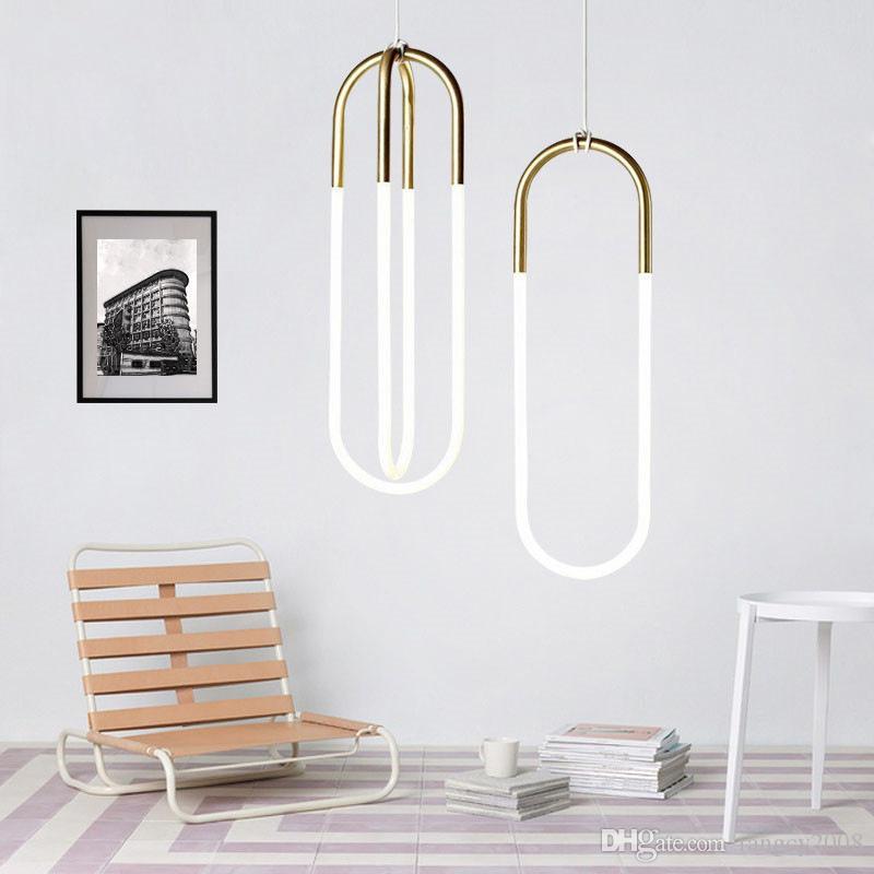 Ins Hot Nordique Minimaliste Géométrique Suspension En Verre Post-moderne Art Décor Suspendre la lampe pour BAR Parlor Loft Ovale pendentif lumière