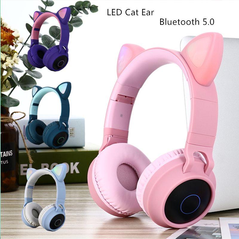 LED Kedi Kulak Gürültü Önleyici Kulaklıklar Bluetooth 5.0 Gençler Çocuklar Kulaklık Destek TF Kart 3.5mm Plug ile Mic